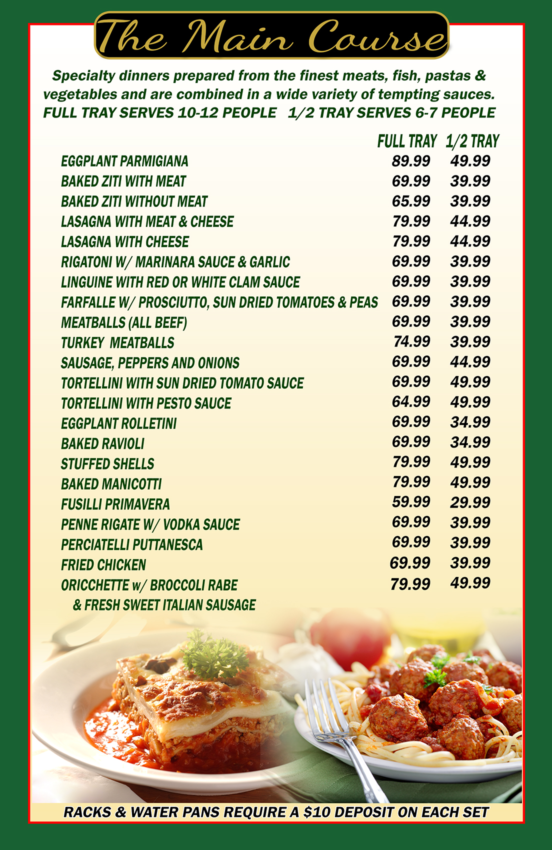 menu foods main course italian fine deli east